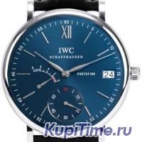 Portofino Blue Dial Black Leather Men's Watch